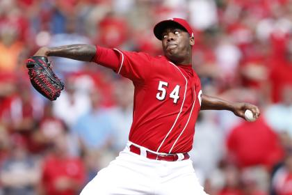 The hardest pitch Aroldis Chapman has thrown this season is 104.6 mph. (Getty)