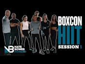 """<ul><li><strong>Equipment: </strong>None</li></ul><p>Conditioning is not for the faint-hearted, it's how you build stamina and burn fat, which means it needs to be challenging. Throw boxing moves in there and you've got a whole-body workout. Get after it. </p><p><a href=""""https://www.youtube.com/watch?v=pcvnRyTTgdU&ab_channel=NateBowerFitness"""" rel=""""nofollow noopener"""" target=""""_blank"""" data-ylk=""""slk:See the original post on Youtube"""" class=""""link rapid-noclick-resp"""">See the original post on Youtube</a></p>"""