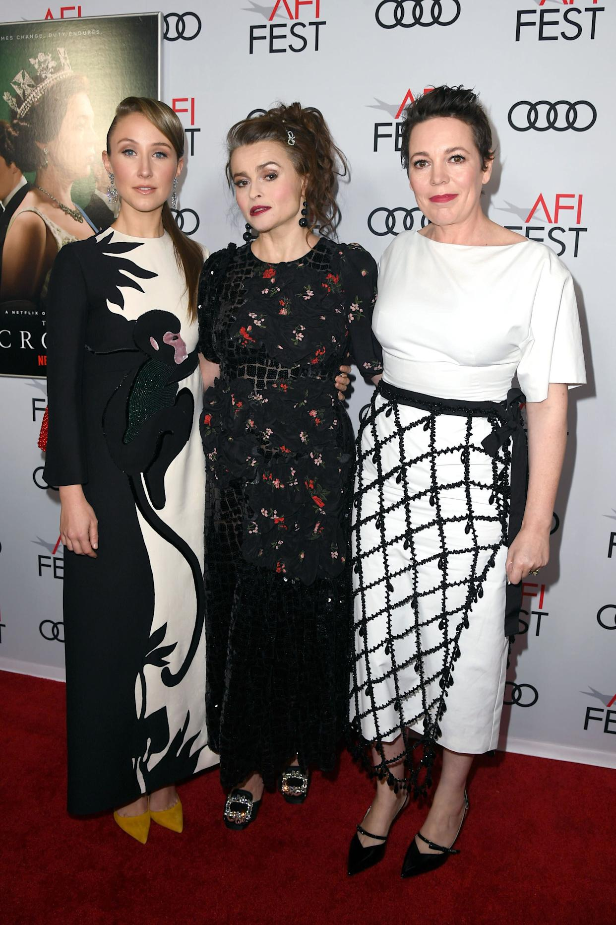"""Erin Doherty, Helena Bonham Carter and Olivia Colman at """"The Crown"""" premiere in Hollywood, California, on Nov. 16."""