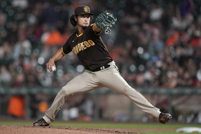 San Diego Padres' Yu Darvish pitches against the San Francisco Giants during the fourth inning of a baseball game in San Francisco, Monday, Sept. 13, 2021. (AP Photo/Jeff Chiu)