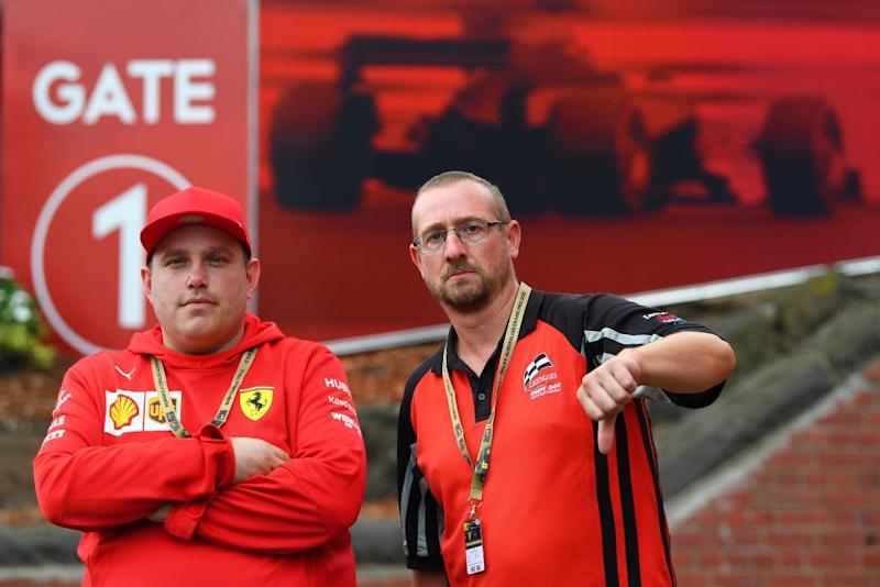 Upset fans James Haworth (right) and Kaine Pizzato outside Albert Park.