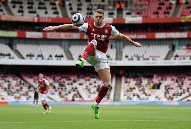 Calum Chambers, pictured, played on the right flank along with Nicolas Pepe in Arsenal's win over Brighton