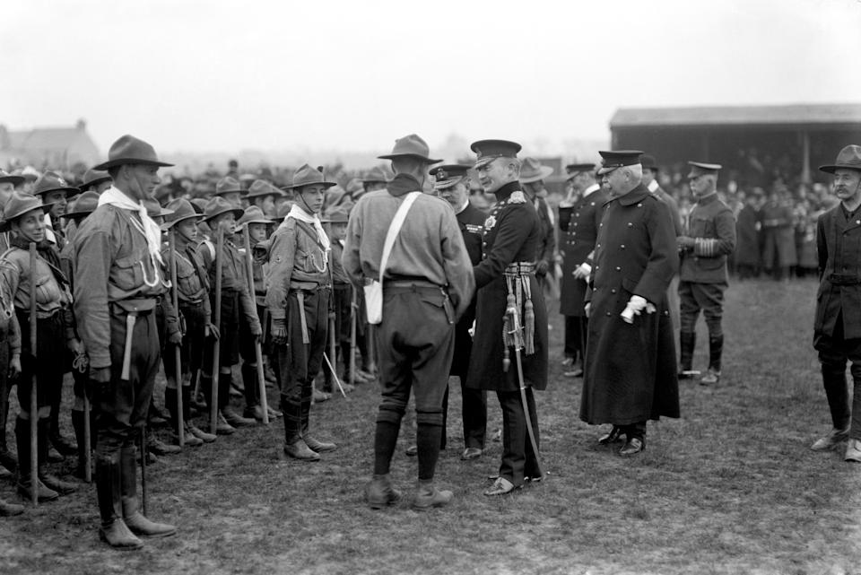 """File photo dated 01/01/1910 of Lieutenant-General Baden-Powell (centre right) inspecting Boy Scouts at New Brompton. A statue of Robert Baden-Powell on Poole Quay in Dorset is due to be removed and placed in """"safe storage"""" following concerns about his actions while in the military and """"Nazi sympathies"""". The action follows a raft of Black Lives Matter protests across the UK, sparked by the death of George Floyd, who was killed on May 25 while in police custody in the US city of Minneapolis."""