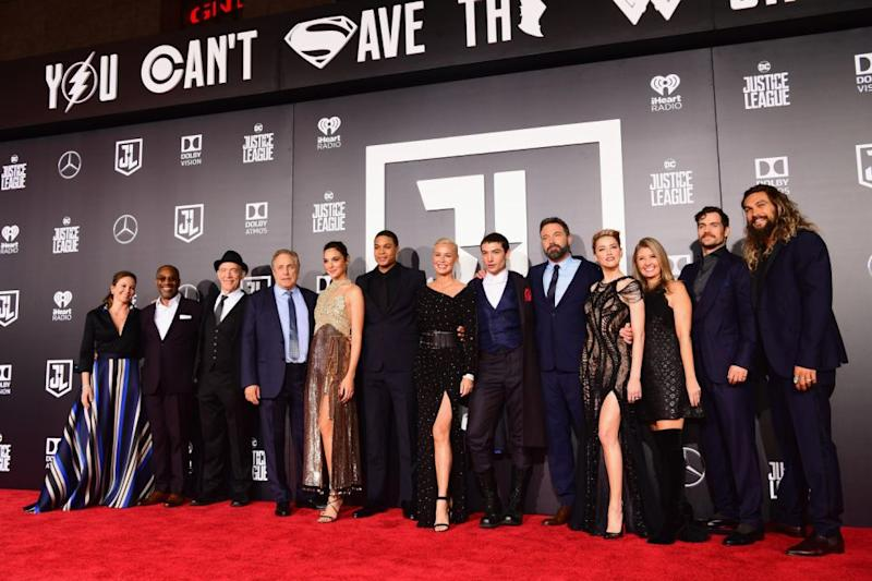 (L-R) Actors Diane Lane, Joe Morton, JK Simmons, producer Chuck Roven, actors Gal Gadot, Ray Fisher, Connie Nielsen, Ezra Miller, Ben Affleck, Amber Heard, producer Deborah Snyder, actors Henry Cavill and Jason Momoa attend the premiere of Warner Bros. Pictures' 'Justice League' at Dolby Theatre on November 13, 2017 in Hollywood. Source: Getty