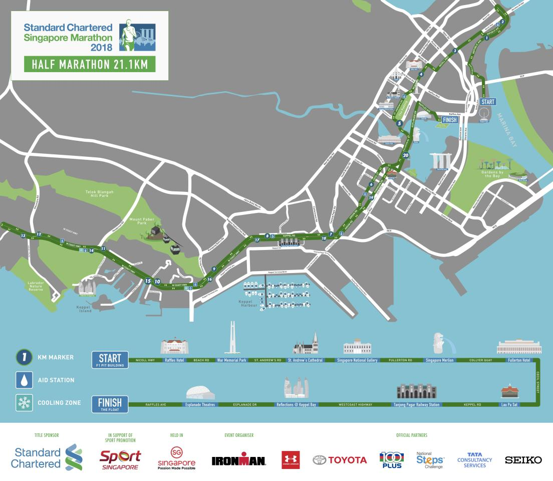 <p>Route map for half-marathon race in Standard Chartered Singapore Marathon 2018 (Infographic: Standard Chartered Singapore Marathon) </p>