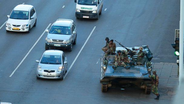 PHOTO: A military tank is seen with armed soldiers outside President Robert Mugabe's office in Harare, Nov. 15, 2017. (Tsvangirayi Mukwazhi/AP)