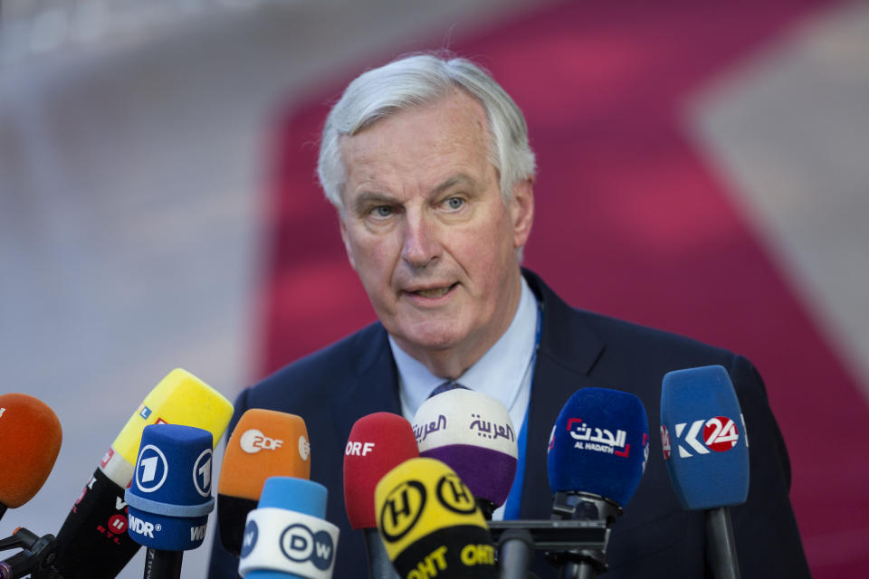 BRUSSELS, BELGIUM - APRIL 10: European Chief Negotiator for the United Kingdom Exiting the European Union Michel Barnier arrives ahead of a European Council meeting on Brexit at The Europa Building, the European Council on April 10, 2019 in Brussels, Belgium. Theresa May formally presents her case to the European Union for a short delay to Brexit until 30 June 2019. The other EU leaders will then then discuss how to respond at a dinner without her. (Photo by Thierry Monasse/Getty Images)