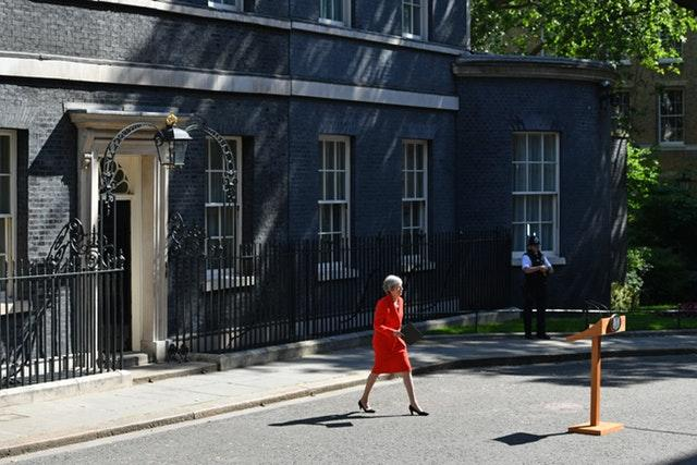 Prime Minister Theresa May making a statement outside 10 Downing Street