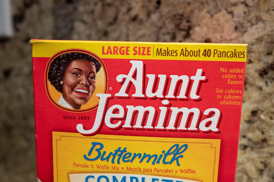 Close-up of Aunt Jemima brand buttermilk pancake mix in kitchen setting, San Ramon, California, November 20, 2020. (Photo by Smith Collection/Gado/Getty Images)
