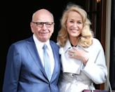 """<p><strong>Age gap: </strong>25 years </p><p>Rupert Murdoch, 88, and Jerry Hall, 63, caused a stir when they announced their engagement in 2016. The model and the media mogul married in London later that year, prompting Murdoch <a href=""""https://twitter.com/rupertmurdoch"""" rel=""""nofollow noopener"""" target=""""_blank"""" data-ylk=""""slk:to tweet"""" class=""""link rapid-noclick-resp"""">to tweet</a> that he was """"the luckiest AND happiest man in the world.""""</p>"""