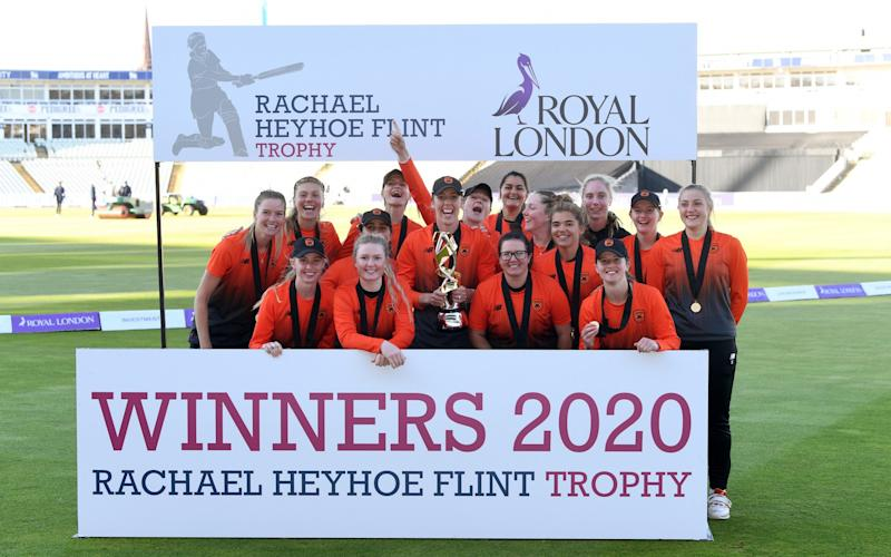Southern Vipers celebrate winning the Rachael Heyhoe Flint Trophy Final between Southern Vipers and Northern Diamonds at Edgbaston on September 27, 2020 in Birmingham, England. - GETTY IMAGES