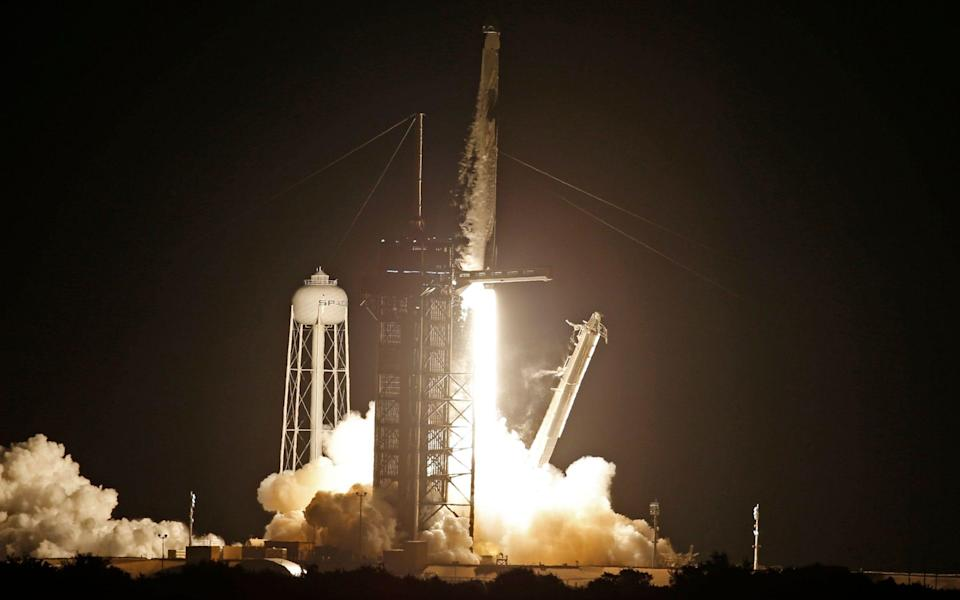 A SpaceX Falcon 9 rocket, with the Crew Dragon capsule, is launched carrying four astronauts on a NASA commercial crew mission at Kennedy Space Center in Cape Canaveral, Florida - REUTERS/Thom Baur