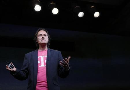 T-Mobile CEO Legere speaks during a company event in New York