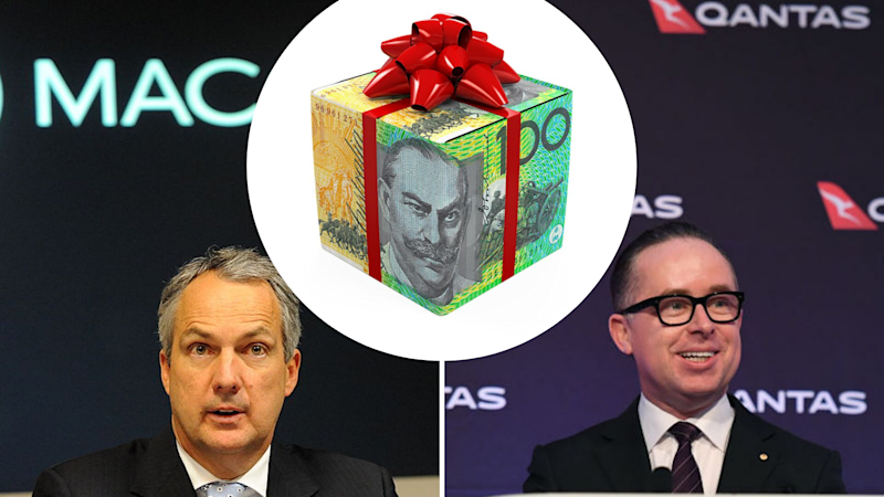Macquarie Group's Nicholas Moore and Qantas' Alan Joyce topped the list for executive pay. Images: Getty