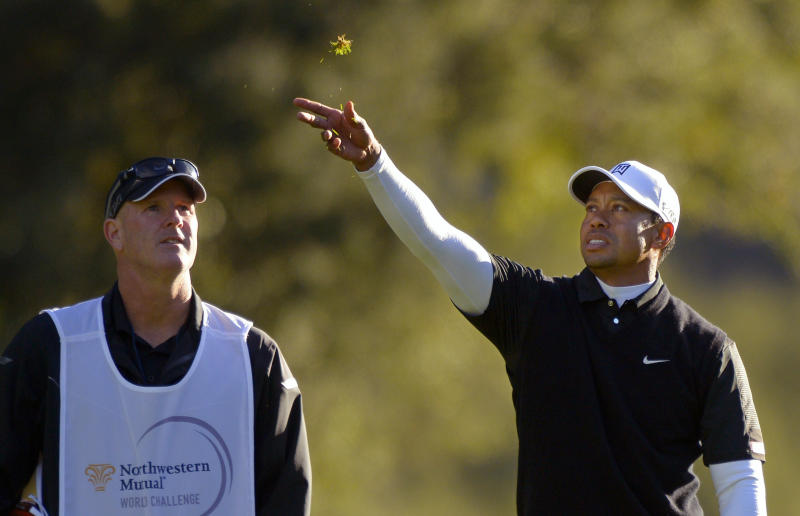 Tiger Woods, right, throws some grass in the air to check the wind as his caddie Joe LaCava stands by during the third round of the Northwestern Mutual World Challenge golf tournament at Sherwood Country Club, Saturday, Dec. 7, 2013, in Thousand Oaks, Calif. (AP Photo/Mark J. Terrill)