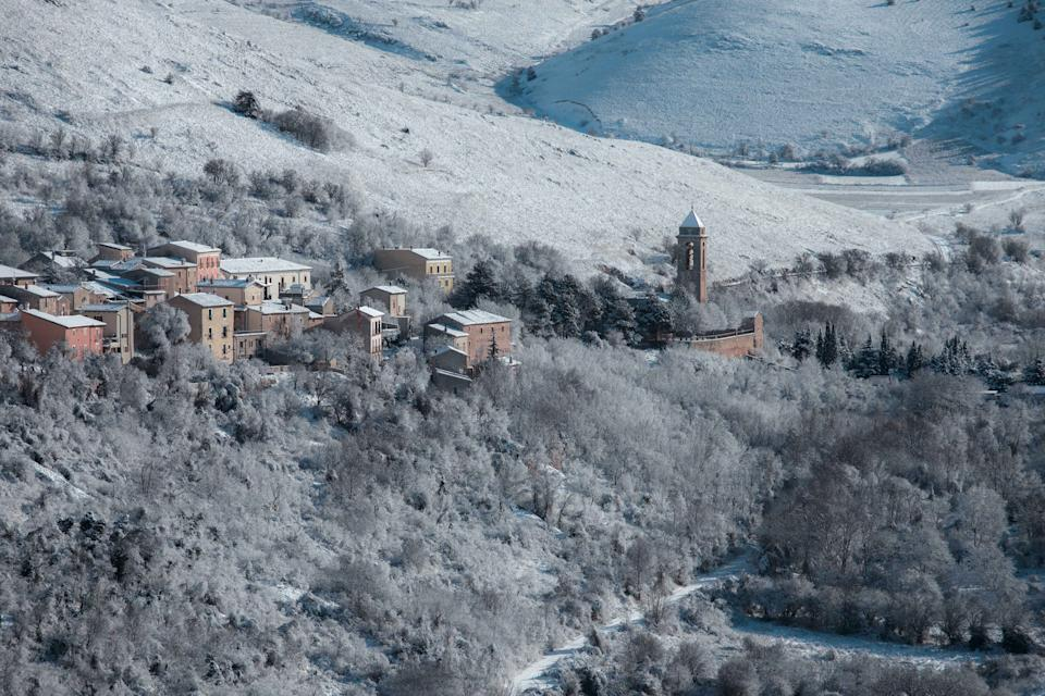 High angle view of buildings and trees during winter, Santo Stefano di Sessanio AQ, Italy