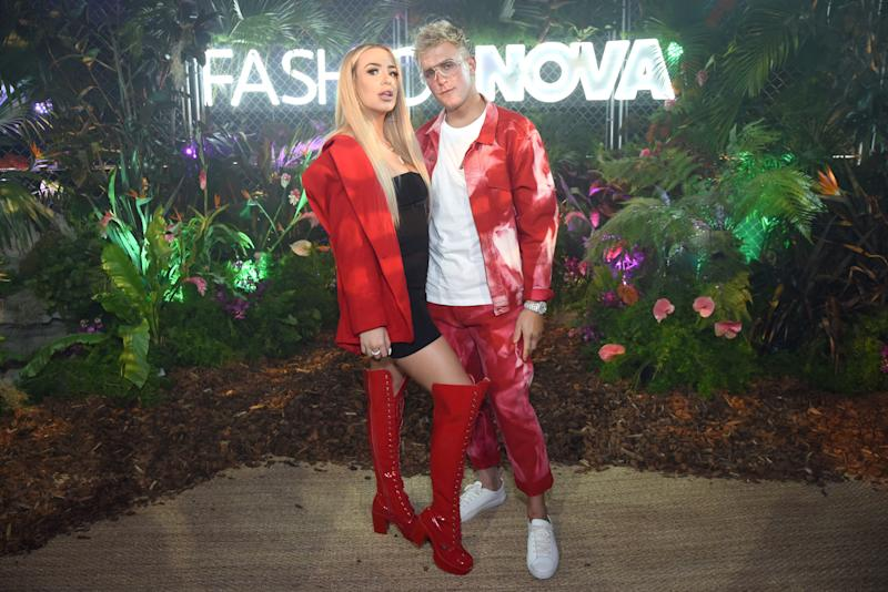 Tana Mongeau and Jake Paul are seen as Fashion Nova Presents: Party With Cardi on May 8, 2019 in Los Angeles, California.