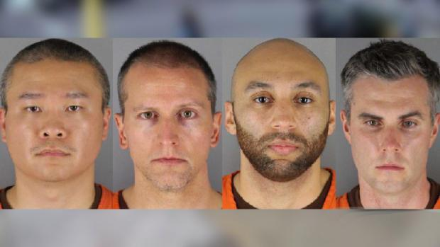 L to R: Former Minneapolis police officers Tou Thao, Derek Chauvin, J Alexander Kueng and Thomas Lane are seen in arrest photos. / Credit: Hennepin County Jail