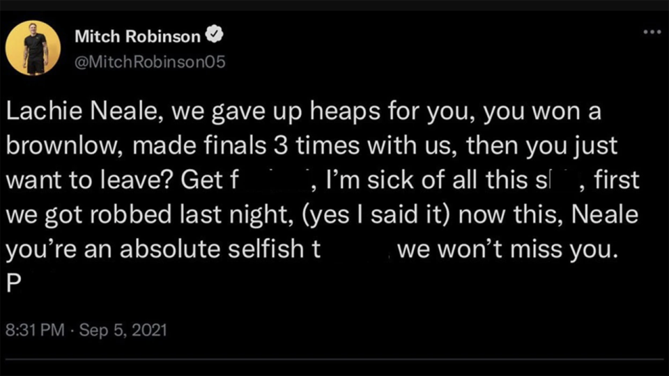 Mitch Robinson said this tweet bearing his name was fake, after it emerged in the days after the Lions' semi-final loss to the Western Bulldogs. Picture: Twitter