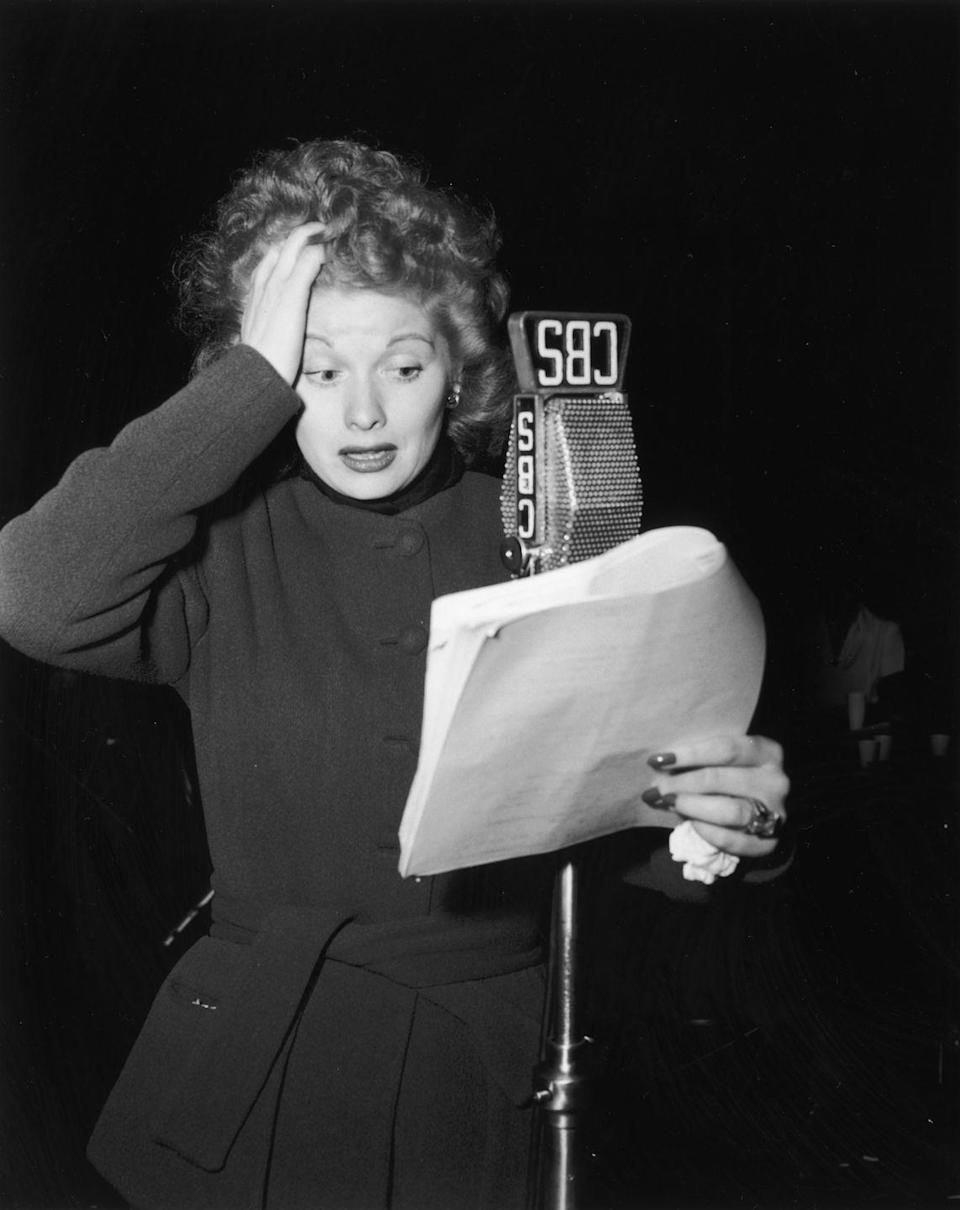 <p>The actress gives us a glimpse at her acting process while recording a CBS radio show called <em>Suspense. </em>The actress frequently worked frequently on CBS radio broadcasts during the '40s. </p>