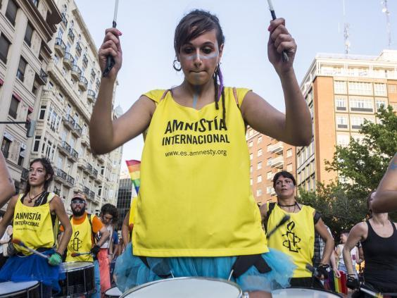 Members of Amnesty International celebrate Gay Pride in Valencia, Spain (iStock)