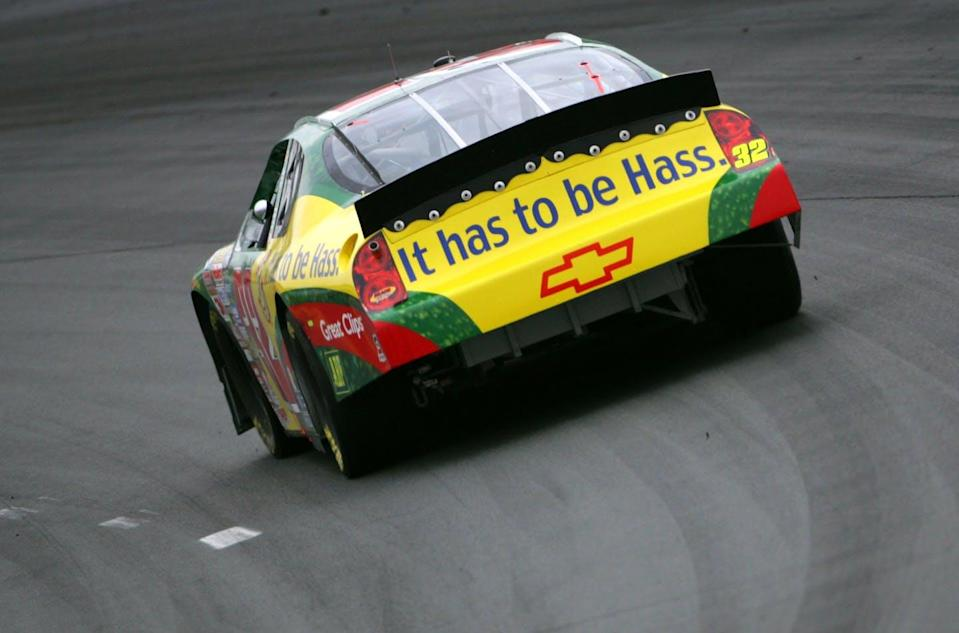 A race car detailed with an advertisement for the Hass avocado.