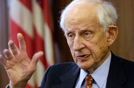 FILE PHOTO - Manhattan District Attorney Robert Morgenthau speaks during an interview in his office in New York