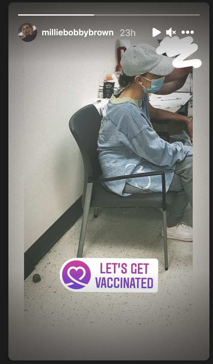Millie Bobby Brown receives first round of Pfizer vaccine in Georgia where residents 16 and older are eligible. (Photo: Instagram)