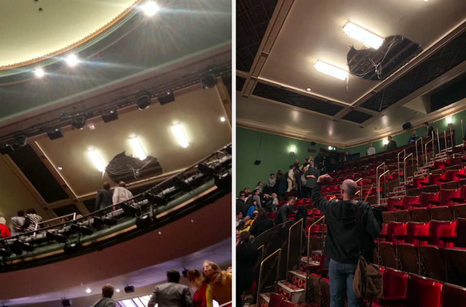 Four people were taken to hospital after part of the ceiling collapsed at the Piccadilly Theatre (PA)