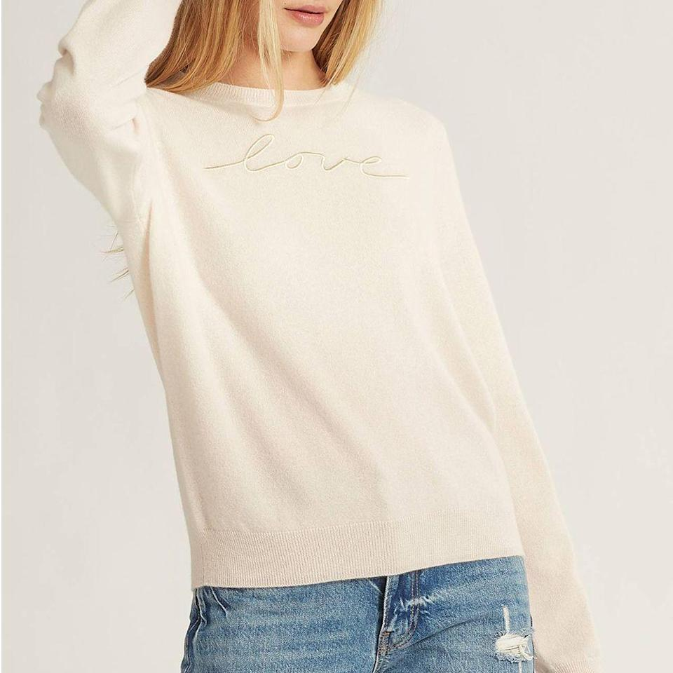 """<p><strong>Naked Cashmere</strong></p><p>nakedcashmere.com</p><p><strong>$250.00</strong></p><p><a href=""""https://go.redirectingat.com?id=74968X1596630&url=https%3A%2F%2Fwww.nakedcashmere.com%2Fproducts%2Flove-dip-dye-sweater&sref=https%3A%2F%2Fwww.prevention.com%2Flife%2Fg34387434%2Fbreast-cancer-shirts-clothing%2F"""" rel=""""nofollow noopener"""" target=""""_blank"""" data-ylk=""""slk:Shop Now"""" class=""""link rapid-noclick-resp"""">Shop Now</a></p><p>A luxurious cashmere sweater will never not make a wonderful gift. Made of 100% cashmere, this ultra-soft sweater will definitely be lived in and cherished. It has a classic crewneck design, plus a relaxed fit with a ribbed trim around the wrist. For each sweater sold, Naked Cashmere will donate $50 to the BCRF. </p>"""