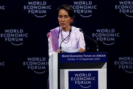 Myanmar State Counsellor Aung San Suu Kyi speaks at the plenary session of the World Economic Forum on ASEAN at the Convention Center in Hanoi