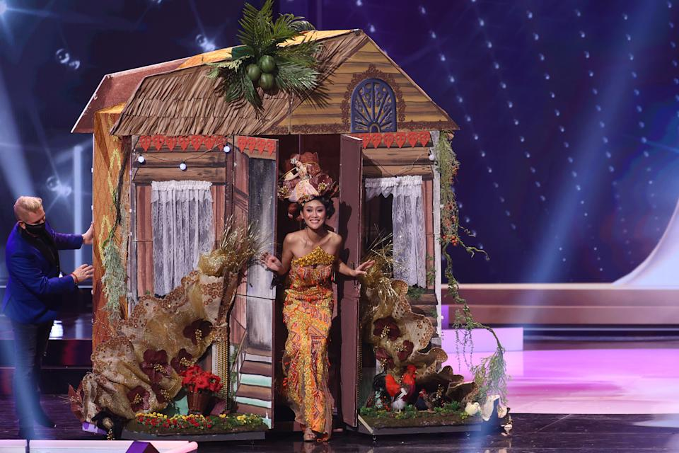 <p>Miss Malaysia Francisca James appears onstage at the Miss Universe 2021 - National Costume Show at Seminole Hard Rock Hotel & Casino on May 13, 2021 in Hollywood, Florida. (Photo by Rodrigo Varela/Getty Images)</p>
