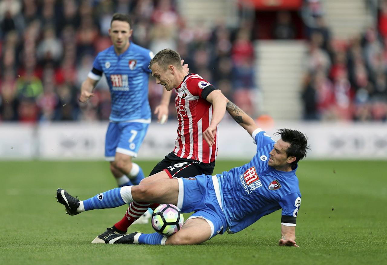 <p>Southampton's James Ward-Prowse in action with Bournemouth's Charlie Daniels </p>