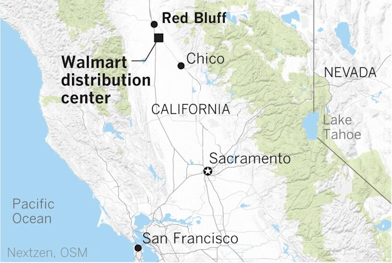 Location of a shooting at a Walmart distribution center near Red Bluff on Saturday.