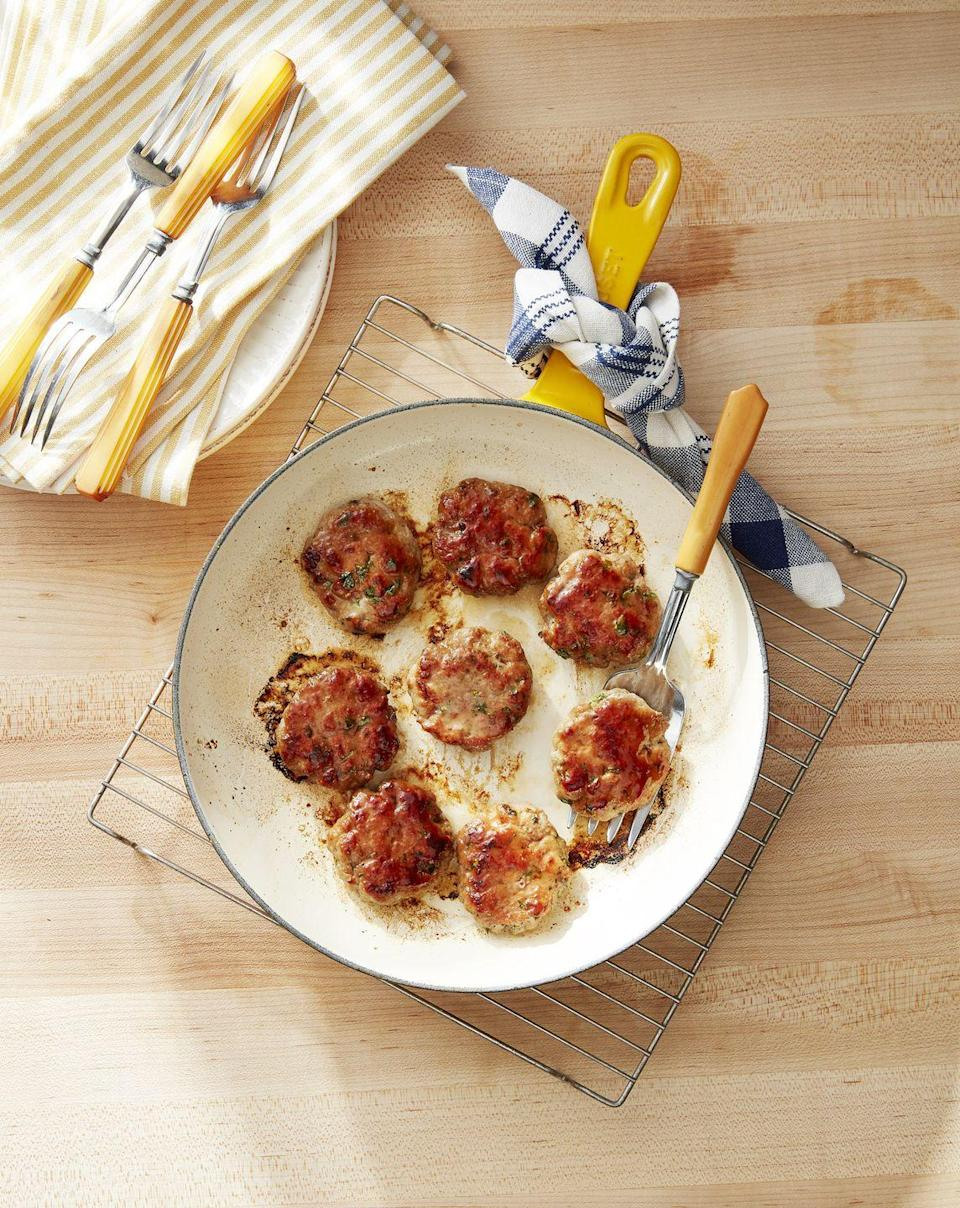 """<p>Homemade sausage is far tastier than the pre-fab variety, and doesn't take much work to mix together—you can do it the night before. </p><p><strong><a href=""""https://www.countryliving.com/food-drinks/a34276289/maple-glazed-breakfast-sausage/"""" rel=""""nofollow noopener"""" target=""""_blank"""" data-ylk=""""slk:Get the recipe"""" class=""""link rapid-noclick-resp"""">Get the recipe</a>.</strong></p><p><strong><a class=""""link rapid-noclick-resp"""" href=""""https://www.amazon.com/Victoria-Skillet-Seasoned-Flaxseed-Certified/dp/B01726HD72/?tag=syn-yahoo-20&ascsubtag=%5Bartid%7C10050.g.1642%5Bsrc%7Cyahoo-us"""" rel=""""nofollow noopener"""" target=""""_blank"""" data-ylk=""""slk:SHOP CAST IRON SKILLETS"""">SHOP CAST IRON SKILLETS</a><br></strong></p>"""