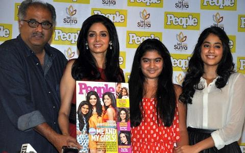 Sridevi with her husband Boney Kapoor and daughters Khushi and Jhanvi Kapoor - Credit:  AFP
