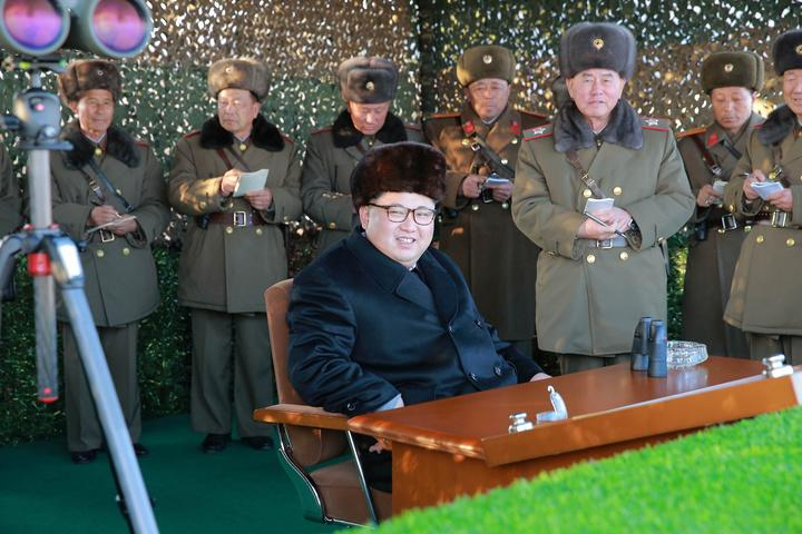 North Korean leader Kim Jong Un oversees a firing contest in Pyongyang, Dec. 21, 2016.