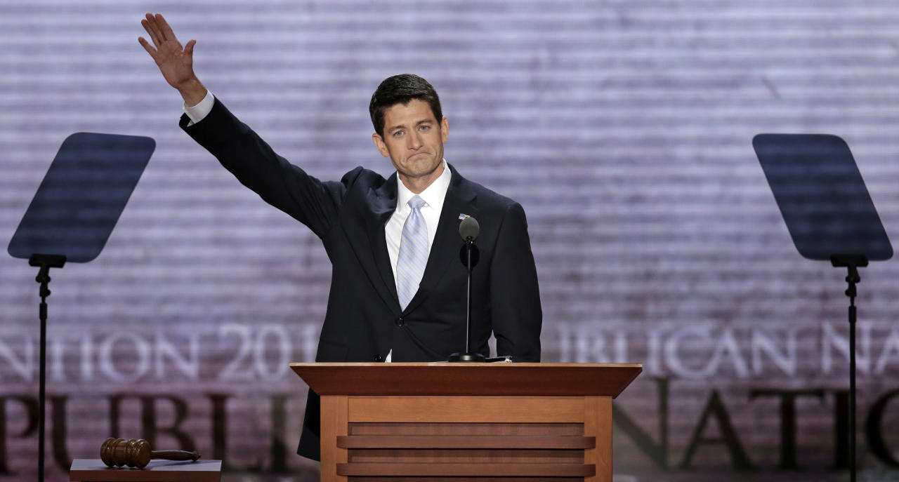 Republican vice presidential nominee, Rep. Paul Ryan waves after his address at the Republican National Convention in Tampa, Fla., on Wednesday, Aug. 29, 2012. (AP Photo/J. Scott Applewhite)