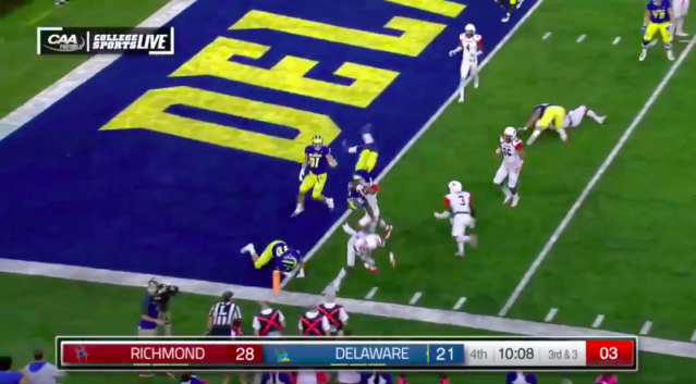 One of Delware's touchdown included a front flip into the end zone. (Courtesy: CAA Football)