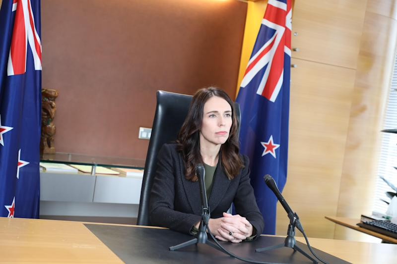 New Zealand Prime Minister Jacinda Ardern speaking after the country recorded two cases of coronavirus for the first time in 24 days.