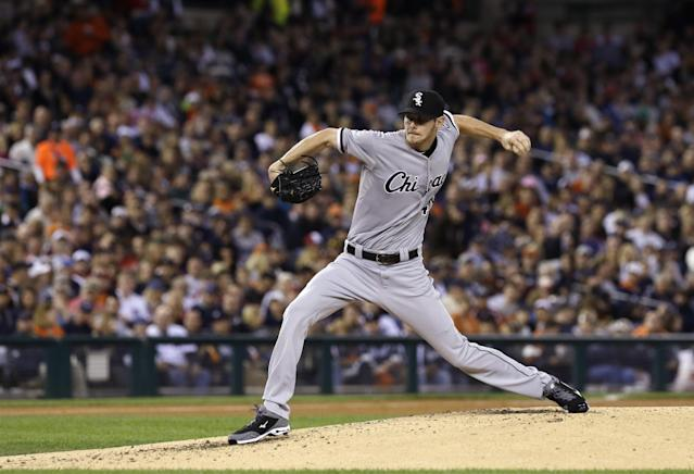 Chicago White Sox starting pitcher Chris Sale throws during the third inning of a baseball game against the Detroit Tigers in Detroit, Saturday, Sept. 21, 2013. (AP Photo/Carlos Osorio)