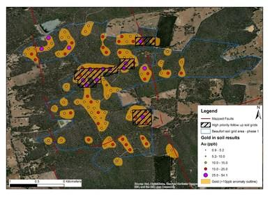 Figure 2 – location of the infill sampling grids over the central block. The in-fill grid is centered over the highest gold responses from the orientation survey and where those gold anomalies were associated with anomalous Arsenic and Antimony coincident with a NW-trending pyritic shale unit. (CNW Group/E79 Resources Corp.)