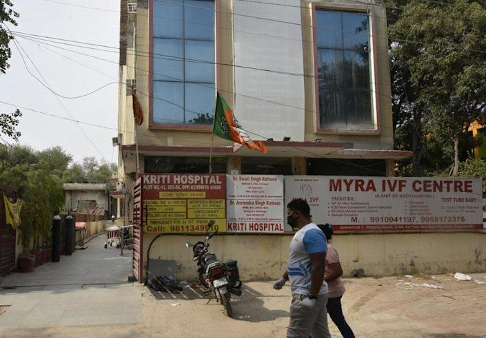 A view of Kriti Hospital in Sector 56 where around eight Covid-19 patients died due to oxygen shortage last night, on May 1, 2021 in Gurugram, India.