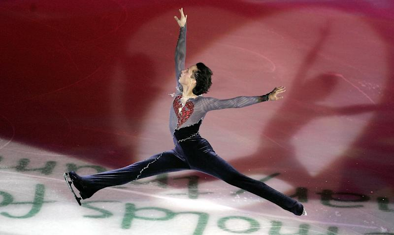 Performing his program at the exhibition of the Cup of Russia ISU Grand Prix figure skating event in St. Petersburg on Nov. 27, 2005.