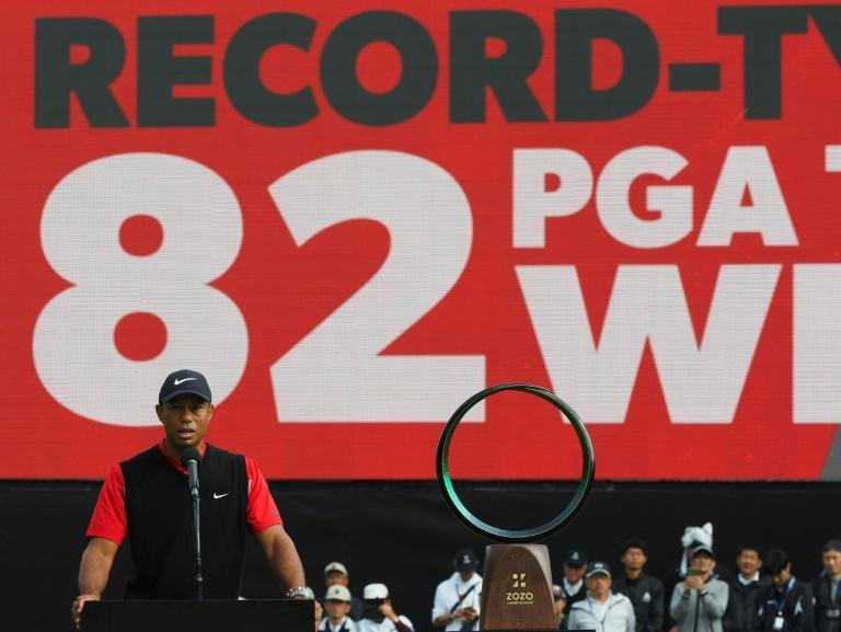 Tiger Woods of the US delivers a speech during the awarding ceremony of the PGA ZOZO Championship golf tournament at the Narashino Country Club in Inzai, Chiba prefecture on October 28, 2019.
