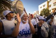 Supporters of the Authenticity and Modernity Party (PAM) rally in Rabat (AFP/FADEL SENNA)