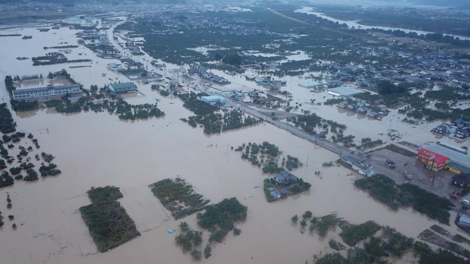 The river banks of Chikumagawa River collapsed from rain triggered by Typhoon Hagibis on October 14. Source: Sipa USA.
