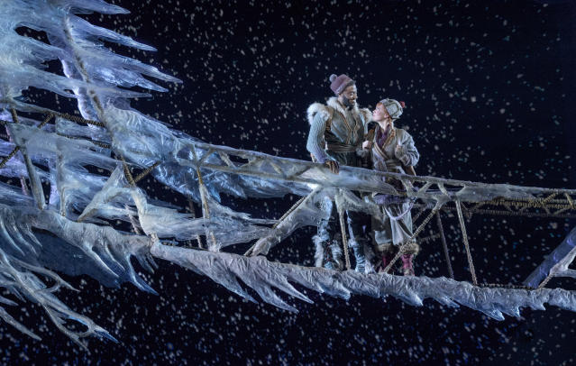 "<em>Frozen</em> Broadway stars Patti Murin (Anna) and Jelani Alladin (Kristoff) perform the new song ""What Do You Know About Love?"" (Photo: Deen van Meer/Disney)"