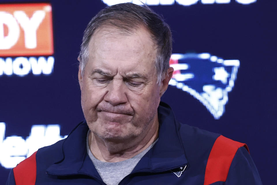 New England Patriots head coach Bill Belichick reacts during a news conference after a 17-16 loss to the Miami Dolphins in an NFL football game, Sunday, Sept. 12, 2021, in Foxborough, Mass. (AP Photo/Winslow Townson)