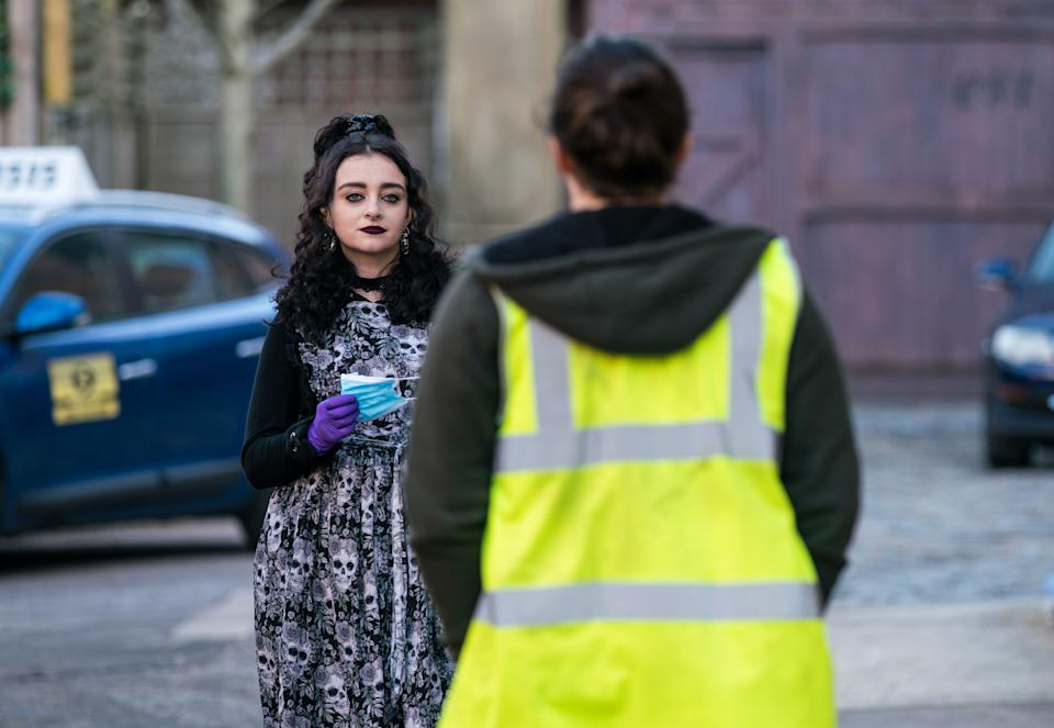 FROM ITV  STRICT EMBARGO - No Use Before Tuesday 23rd March 2021  Coronation Street - Ep 1028788  Thursday 1st April 2021  In a bid to make a stand against traffic pollution, Nina Lucas [MIOLLIE GALLAGHER] blocks Victoria Street with tables from the cafe. Seb Franklin's [HARRY VISINONI] furious, pointing out he needs to get to work.   Picture contact David.crook@itv.com   Photographer - Danielle Baguley  This photograph is (C) ITV Plc and can only be reproduced for editorial purposes directly in connection with the programme or event mentioned above, or ITV plc. Once made available by ITV plc Picture Desk, this photograph can be reproduced once only up until the transmission [TX] date and no reproduction fee will be charged. Any subsequent usage may incur a fee. This photograph must not be manipulated [excluding basic cropping] in a manner which alters the visual appearance of the person photographed deemed detrimental or inappropriate by ITV plc Picture Desk. This photograph must not be syndicated to any other company, publication or website, or permanently archived, without the express written permission of ITV Picture Desk. Full Terms and conditions are available on  www.itv.com/presscentre/itvpictures/terms